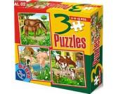 Puzzle Lovak, malacok, tehenek - GYEREK PUZZLE