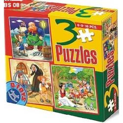 Puzzle Pinokio, házikó, Hófehérke - GYEREK PUZZLE