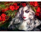 Puzzle Lány virágokkal