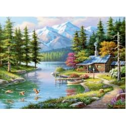Puzzle Nyaraló a hegyi patak mellett