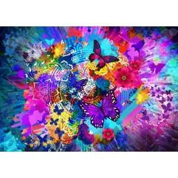 Puzzle Virágok és pillangók