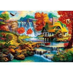 Puzzle Ház a vízesés közelében