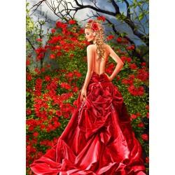 Puzzle Gyönyörűség piros ruhában