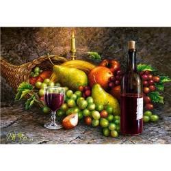 Puzzle Gyümölcsök és bor-csendélet