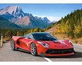 Puzzle Piros sportautó a hegyekben - GYEREK PUZZLE