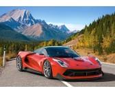 Puzzle Piros sportautó a hegyekben