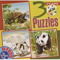 Puzzle Teknősbéka, Jegesmedve, Panda - GYEREK PUZZLE
