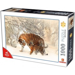 Puzzle Tigrisek a hóban