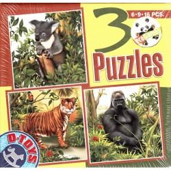Puzzle Koala, tigris, gorilla - GYEREK PUZZLE