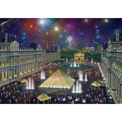 Puzzle Tűzijáték a Louvre felett