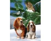 Puzzle Kutyák a hóban - XXL PUZZLE