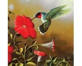 Puzzle Kolibrik piros virággal - XXL