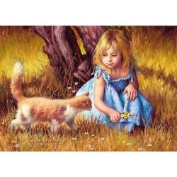 Puzzle Kislány cicával